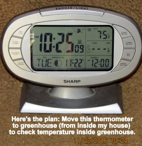 Thermometer to check inside temp of greenhouse
