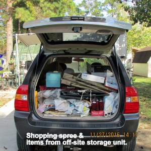 KIA is loaded with food and items from storage