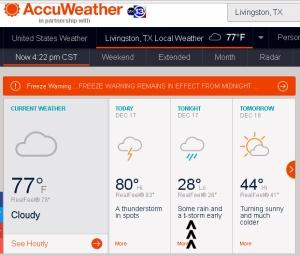 AccuWeather forecast at four-twenty