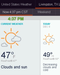 AccuWeather temperature at four-thirty