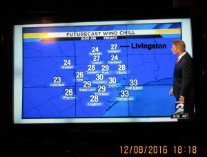 Wind chill temperature at six AM Friday