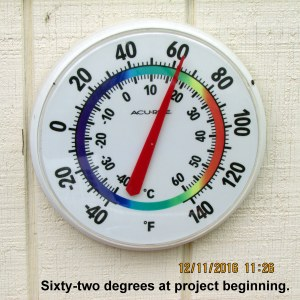 Temperature when project started