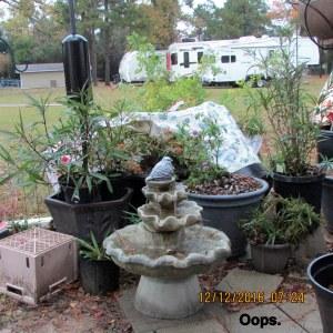 Oops, overturned planter