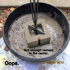 Not enough cement in the center