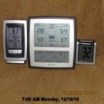 Temperature at seven AM Monday