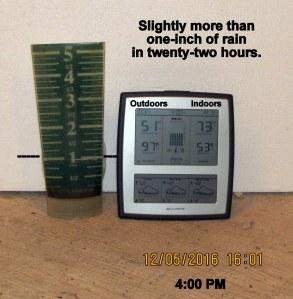 Temperature and rain gauge at four