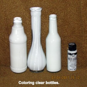 Painting bottles white