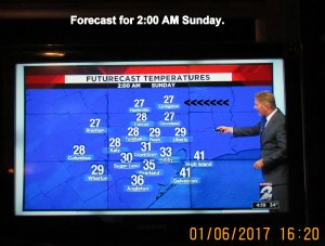 TV forecast for two AM Sunday
