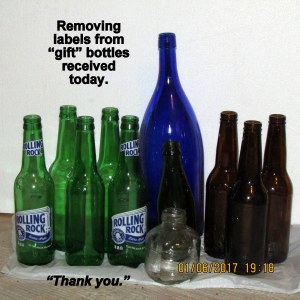 Removing labels from gift bottles
