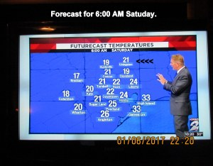 Forecast for six AM Saturday