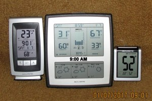 Three thermometers at nine AM