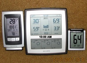 Three thermometers at ten AM