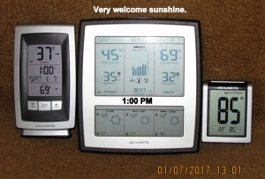 Three thermometers at one PM