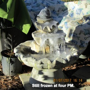 Fountain still frozen at four PM