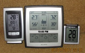 Three thermometers at ten PM