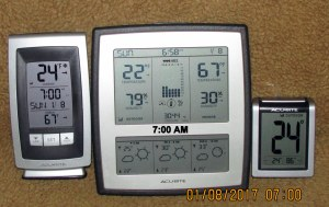 Three thermometers at seven AM