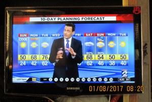TV weather at eight-twenty AM
