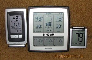 Three thermometers at eleven AM