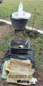 Mixing cement for Bottle Bush base