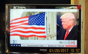 Split screen with flag and Trump
