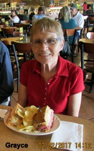 Grayce with Reuben sandwich