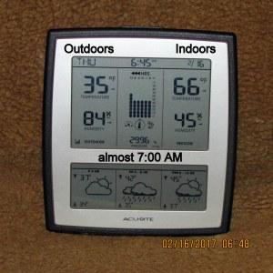 Temperature almost seven AM