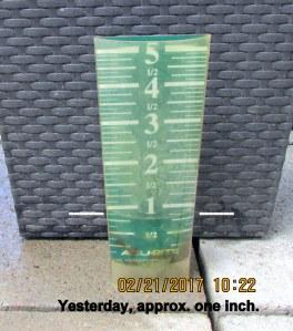 One inch of rain yesterday