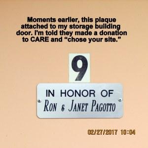 Plaque on storage building door