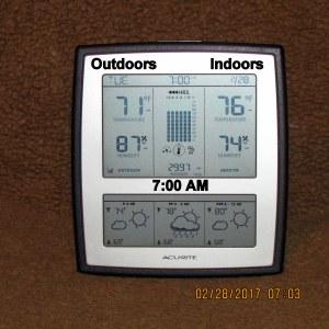 Temperature at seven AM